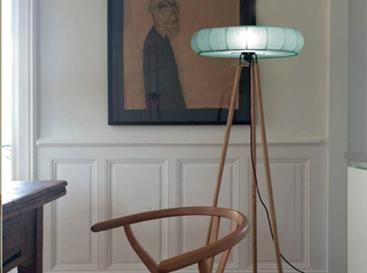 Design lampadaire shehrazade bleu vert sur trépied